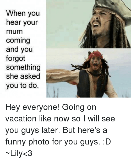 Memes Vacation And When You Hear Your Mum Coming Forgot