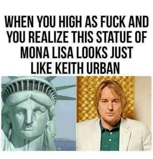 Mona Lisa, Fuck, and Urban: WHEN YOU HIGH AS FUCK AND  YOU REALIZE THIS STATUE OF  MONA LISA LOOKS JUST  LIKE KEITH URBAN