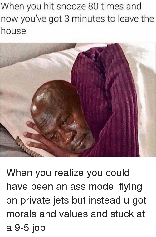 Ass, House, and Jets: When you hit snooze 80 times and  now you've got 3 minutes to leave the  house When you realize you could have been an ass model flying on private jets but instead u got morals and values and stuck at a 9-5 job