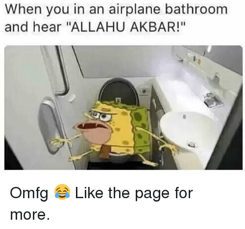 """Allahu Akbar, Airplane, and Dank Memes: When you in an airplane bathroom  and hear """"ALLAHU AKBAR!"""" Omfg 😂  Like the page for more."""