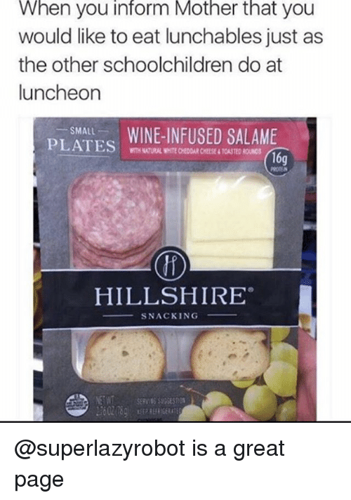 Memes, White, and Lunchables: When you inform Mother that you  would like to eat lunchables just as  the other schoolchildren do at  luncheon  SMALL  PLATES  WITH NATURAL WHITE CHEDOAR CHEESE&TOASTED ROUN03  16g  HILLSHIRE  SNACKING @superlazyrobot is a great page