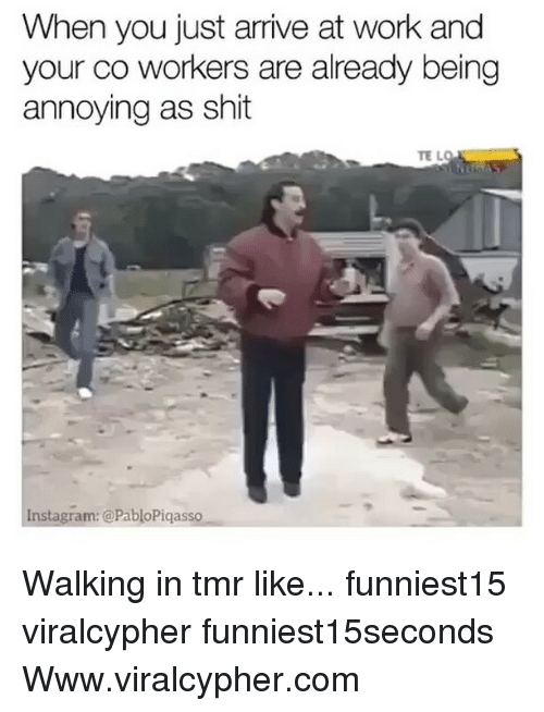 Funny, Instagram, and Shit: When you just arrive at work and  your co workers are already being  annoying as shit  TE L  instagram: @PabloPiqasso Walking in tmr like... funniest15 viralcypher funniest15seconds Www.viralcypher.com