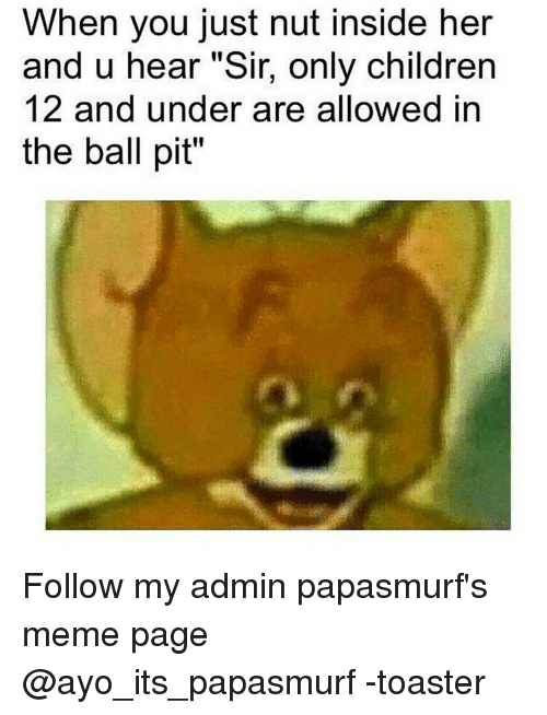 "Children, Meme, and Memes: When you just nut inside her  and u hear ""Sir, only children  12 and under are allowed in  the ball pit"" Follow my admin papasmurf's meme page @ayo_its_papasmurf -toaster"