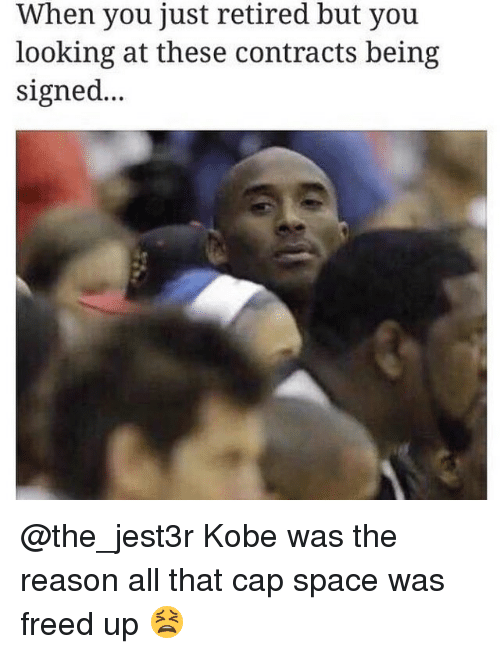 Ups, Kobe, and Space: When you just retired but you  looking at these contracts being  signed... @the_jest3r Kobe was the reason all that cap space was freed up 😫
