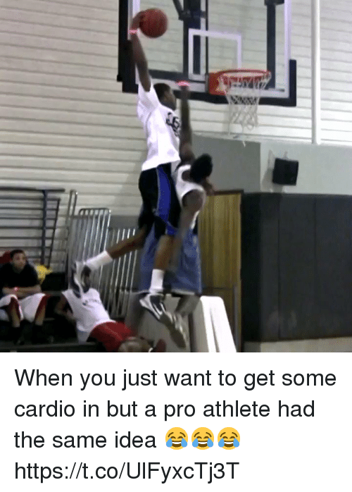 Memes, Pro, and 🤖: When you just want to get some cardio in but a pro athlete had the same idea 😂😂😂 https://t.co/UlFyxcTj3T