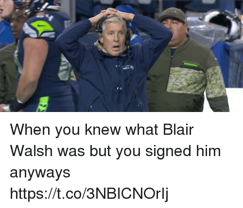 Blair Walsh, Nfl, and Him: When you knew what Blair Walsh was but you signed him anyways https://t.co/3NBICNOrIj