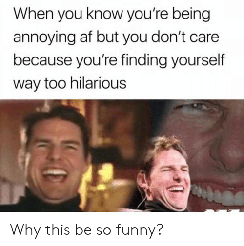 Af, Dank, and Funny: When you know you're being  annoying af but you don't care  because you're finding yourself  way too hilarious Why this be so funny?
