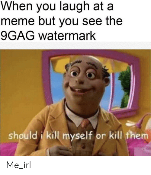 9gag, Meme, and Irl: When you laugh at a  meme but you see the  9GAG watermark  should i kill myself or kill them Me_irl