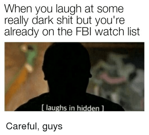 Shit, Watch, and Hidden: When you laugh at some  really dark shit but you're  already on the FBl watch list  laughs in hidden l <p>Careful, guys</p>