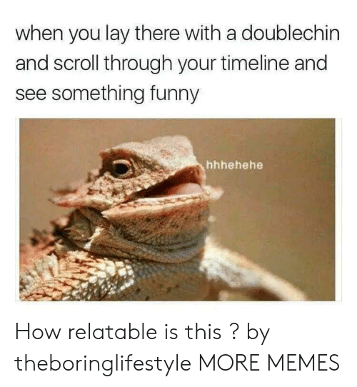 Dank, Funny, and Memes: when you lay there with a doublechin  and scroll through your timeline and  see something funny  hhhehehe How relatable is this ? by theboringlifestyle MORE MEMES