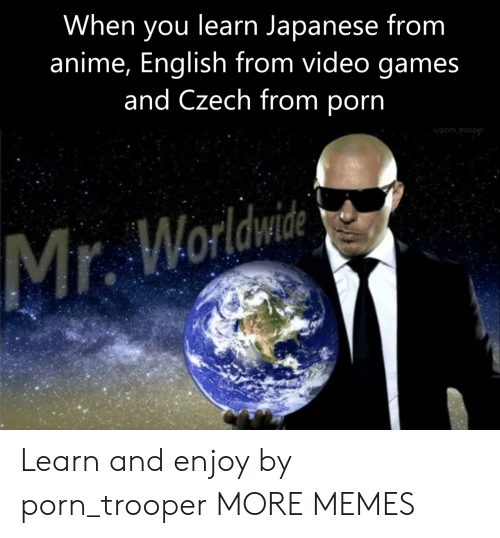 Anime, Dank, and Memes: When you learn Japanese from  anime, English from video games  and Czech from porn  u/porn trooper Learn and enjoy by porn_trooper MORE MEMES