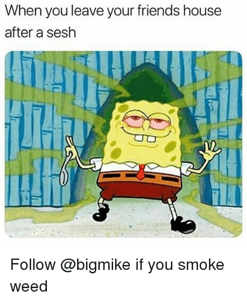 Friends, Weed, and House: When you leave your friends house  after a sesh Follow @bigmike if you smoke weed