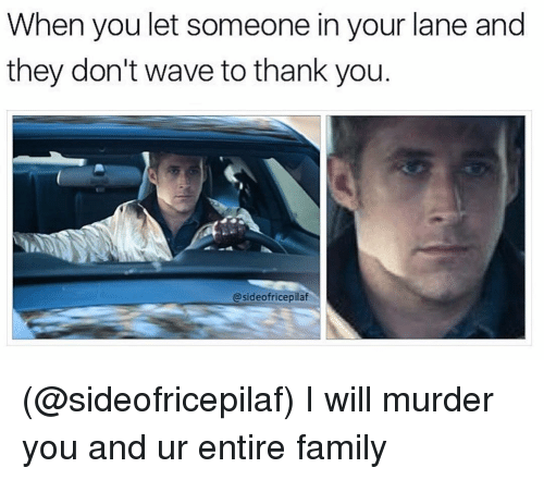 Family, Thank You, and Dank Memes: When you let someone in your lane and  they don't wave to thank you  @sideofricepilaf (@sideofricepilaf) I will murder you and ur entire family