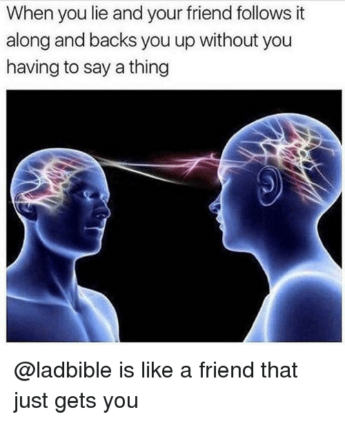 Funny, Friend, and Thing: When you lie and your friend follows it  along and backs you up without you  having to say a thing @ladbible is like a friend that just gets you