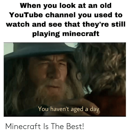 Minecraft, youtube.com, and Best: When you look at an old  YouTube channel you used to  watch and see that they're still  playing minecraft  You haven't aged a day Minecraft Is The Best!