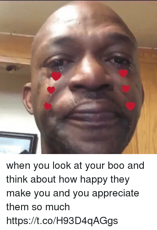Boo, Funny, and Appreciate: when you look at your boo and think about how happy they make you and you appreciate them so much https://t.co/H93D4qAGgs