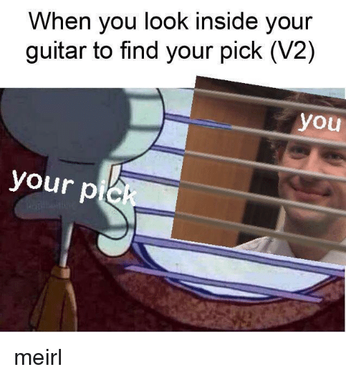 Guitar, MeIRL, and Pie: When you look inside your  guitar to find your pick (V2)  you  your pie meirl