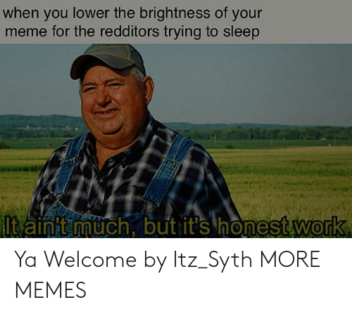 Dank, Meme, and Memes: when you lower the brightness of your  meme for the redditors trying to sleep  ltain t much, but it's honest work Ya Welcome by Itz_Syth MORE MEMES