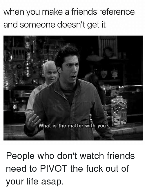 Friends, Life, and Fuck: when you make a friends reference  and someone doesn't get it  What is the matter with you? People who don't watch friends need to PIVOT the fuck out of your life asap.