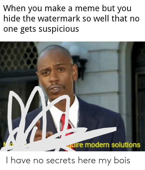Meme, Reddit, and Make A: When you make a meme but you  hide the watermark so well that no  one gets suspicious  uire modern solutions I have no secrets here my bois