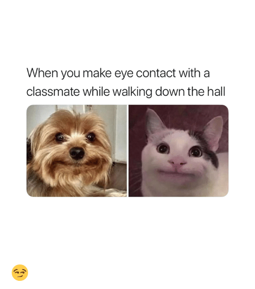 Eye, Down, and Make: When you make eye contact with a  classmate while walking down the hall 😏