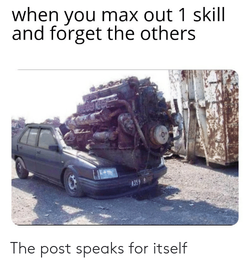 The Others, You, and Post: when you max out 1 skill  and forget the others The post speaks for itself
