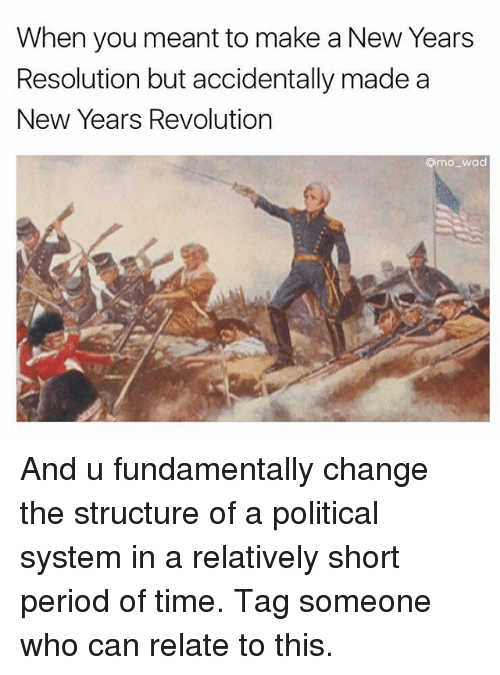 Funny, Meme, and New Year's Resolutions: When you meant to make a New Years  Resolution but accidentally made a  New Years Revolution  @moo wad And u fundamentally change the structure of a political system in a relatively short period of time. Tag someone who can relate to this.