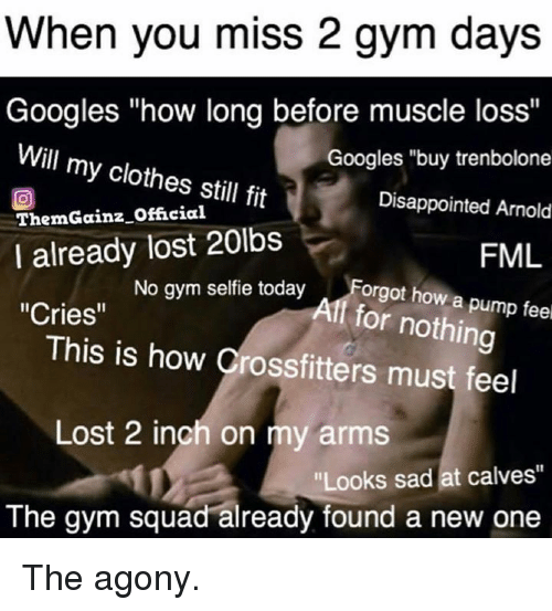 "Clothes, Disappointed, and Fml: When you miss 2 gym days  Googles ""how long before muscle loss""  Will my clothes still fit  ThemGainz Official  I already lost 20lbs  Cries""  Googles ""buy trenbolone  Disappointed Arnold  FML  No gym selfie todayForgt how a p  Aff for nothing  This is how Crossfitters must feel  Lost 2 inch on my arms  Looks sad at calves""  The gym squad already found a new one The agony."