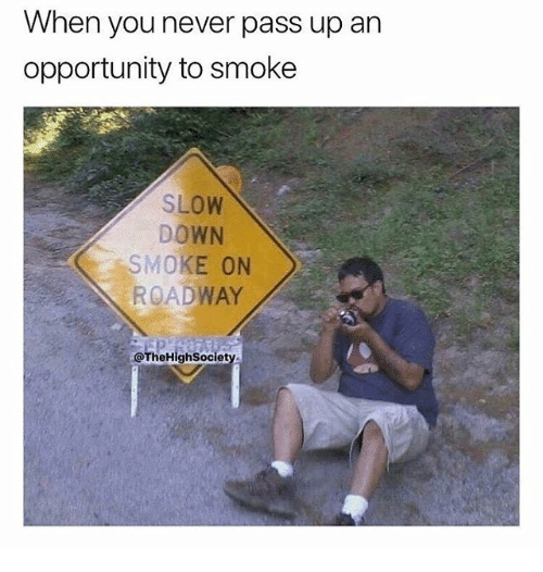 Memes, Opportunity, and Never: When you never pass up an  opportunity to smokee  SLOW  DOWN  SMOKE ON  ROADWAY  @TheHighSociet