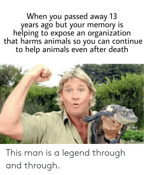 Animals, Death, and Help: When you passed away 13  years ago but your memory is  helping to expose an organization  that harms animals so you can continue  to help animals even after death This man is a legend through and through.