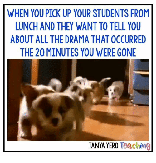 Teaching, All The, and Drama: WHEN YOU PICK UP YOUR STUDENTS FROM  LUNCH AND THEY WANT TO TELL YOU  ABOUT ALL THE DRAMA THAT OCCURRED  THE 20 MINUTES YOU WERE GONE  TANYA YERO Teaching