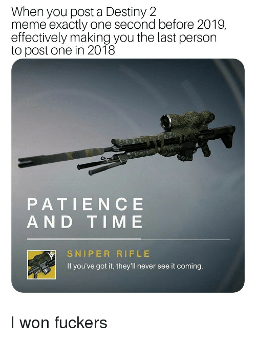 When You Post a Destiny 2 Meme Exactly One Second Before