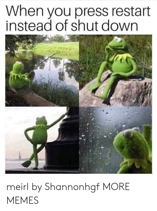 Dank, Memes, and Target: When you press restart  instead of shut down meirl by Shannonhgf MORE MEMES
