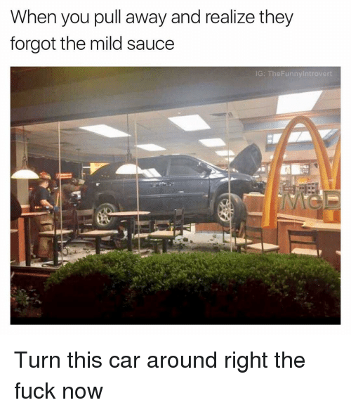 Fuck, Dank Memes, and Mild: When you pull away and realize they  forgot the mild sauce  G: TheFunnylntrovert Turn this car around right the fuck now