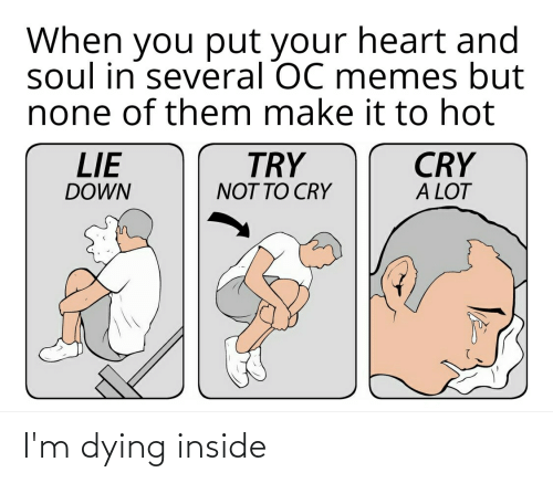 Memes, Reddit, and Heart: When you put your heart and  soul in several OC memes but  none of them make it to hot  CRY  A LOT  LIE  TRY  DOWN  NOT TO CRY I'm dying inside