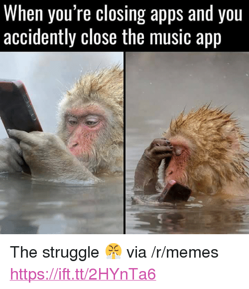"""Memes, Music, and Struggle: When you re closing apps and you  accidently close the music app <p>The struggle 😤 via /r/memes <a href=""""https://ift.tt/2HYnTa6"""">https://ift.tt/2HYnTa6</a></p>"""