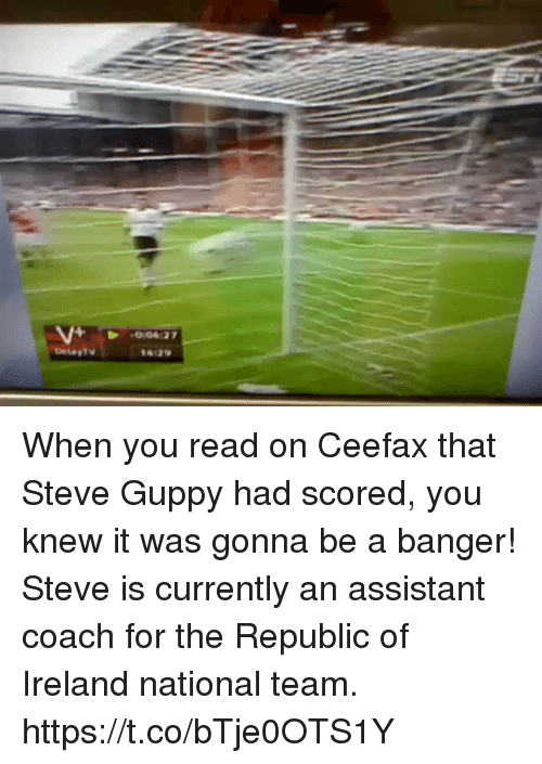 Sizzle: When you read on Ceefax that Steve Guppy had scored, you knew it was gonna be a banger!  Steve is currently an assistant coach for the Republic of Ireland national team. https://t.co/bTje0OTS1Y