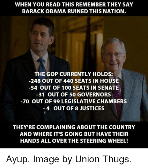Memes, Obama, and Thug: WHEN YOU READ THIS REMEMBER THEY SAY  BARACK OBAMA RUINED THIS NATION.  THE GOP CURRENTLY HOLDS:  -248 OUT OF 440 SEATS IN HOUSE  -54 OUT OF 100 SEATS IN SENATE  -31 OUT OF 50 GOVERNORS  -70 OUT OF 99 LEGISLATIVE CHAMBERS  4 OUT OF 8 JUSTICES  THEY RE COMPLAINING ABOUT THE COUNTRY  AND WHERE IT'S GOING BUT HAVE THEIR  HANDS ALL OVER THE STEERING WHEEL! Ayup. Image by Union Thugs.