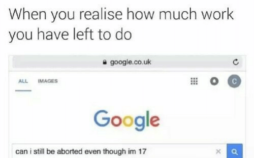 Google, Work, and Images: When you realise how much work  you have left to do  google.co.uk  ALL  IMAGES  Google  can i still be aborted even though im 17