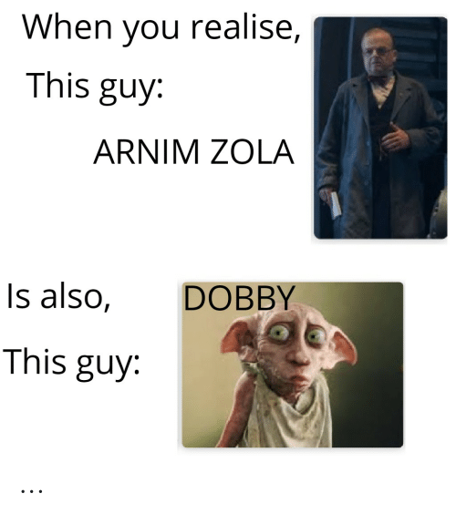 Marvel Comics, Zola, and You: When you realise,  This guy:  ARNIM ZOLA  DOBBY  Is also,  This guy ...