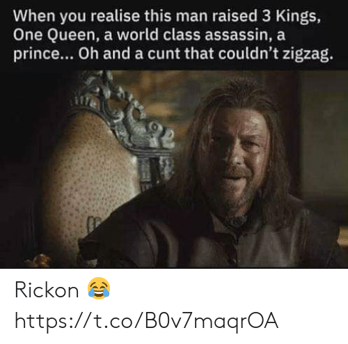 Memes, Prince, and Queen: When you realise this man raised 3 Kings,  One Queen, a world class assassin, a  prince... Oh and a cunt that couldn't zigzag. Rickon 😂 https://t.co/B0v7maqrOA