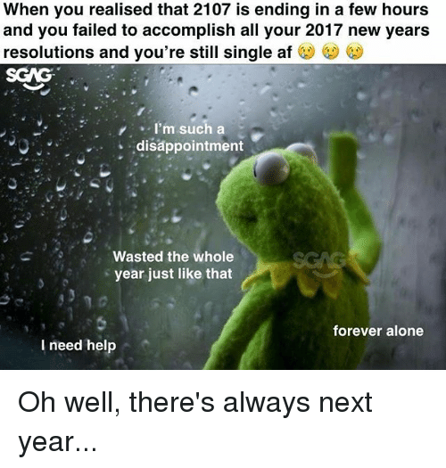 Af, Being Alone, and Memes: When you realised that 2107 is ending in a few hours  and you failed to accomplish all your 2017 new years  resolutions and you're still single af  SGAG  I'm such a  disappointment  Wasted the whole  year just like that  forever alone  l need hel Oh well, there's always next year...
