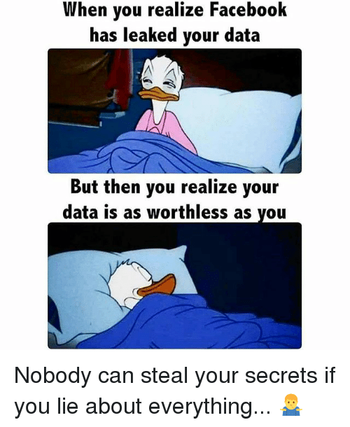 Facebook, Memes, and 🤖: When you realize Facebook  has leaked your data  But then you realize your  data is as worthless as you Nobody can steal your secrets if you lie about everything... 🤷♂️