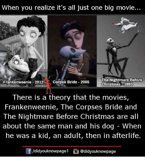 When You Realize It S All Just One Big Movie Frankenweenie 2012 Corpse Bride 2005 The Nightmare Before Christmas 1993 There Is A Theory That The Movies Frankenweenie The Corpses Bride