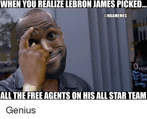 All Star, LeBron James, and Nba: WHEN YOU REALIZE LEBRON JAMES PICKED  @NBAMEMES  Peni  ri  ALL THE FREE AGENTS ON HIS ALL STAR TEAM Genius