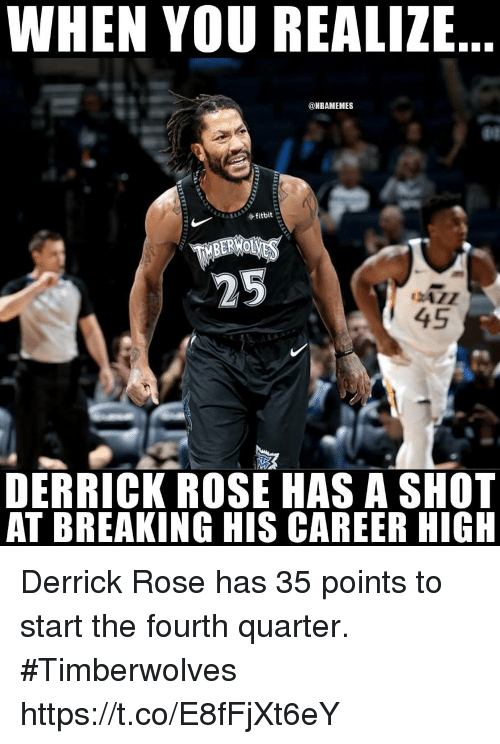 separation shoes 93691 bee45 WHEN YOU REALIZE 45 DERRICK ROSE HAS a SHOT AT BREAKING HIS ...