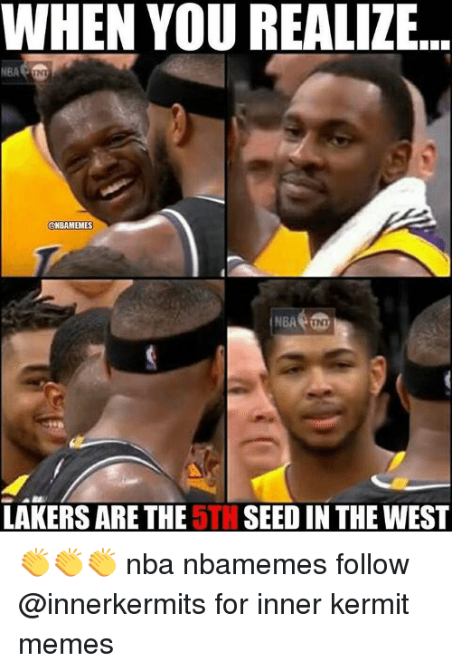 Basketball, Nba, and Sports: WHEN YOU REALIZE  @NBAMEMES  LAKERS ARE THE  5TH  SEED IN THE WEST 👏👏👏 nba nbamemes follow @innerkermits for inner kermit memes