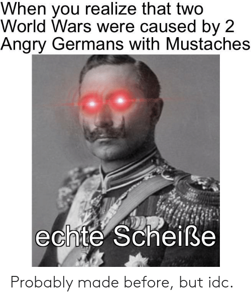 History, World, and Angry: When you realize that two  World Wars were caused by 2  Angry Germans with Mustaches  echte Scheiße Probably made before, but idc.