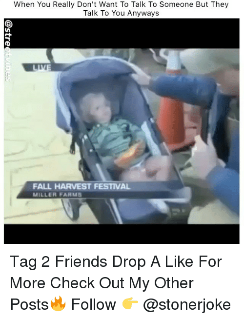 Fall, Friends, and Memes: When You Really Don't Want To Talk To Someone But They  Talk To You Anyways  FALL HARVEST FESTIVAL  MILLER FA MS Tag 2 Friends Drop A Like For More Check Out My Other Posts🔥 Follow 👉 @stonerjoke