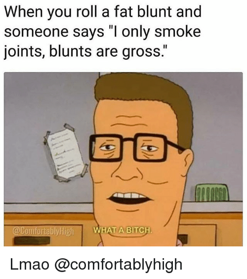 "Bitch, Blunts, and Lmao: When you roll a fat blunt and  someone says ""I only smoke  joints, blunts are gross.""  @Comfortably High  WHAT A BITCH Lmao @comfortablyhigh"